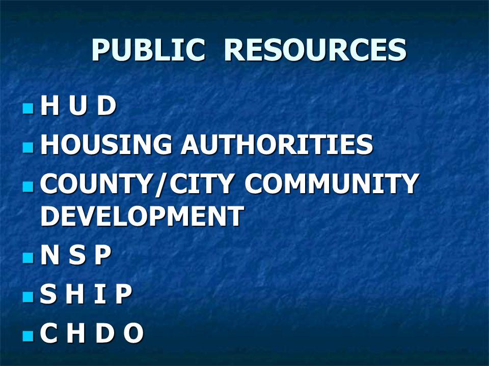 PUBLIC RESOURCES H U D H U D HOUSING AUTHORITIES HOUSING AUTHORITIES COUNTY/CITY COMMUNITY DEVELOPMENT COUNTY/CITY COMMUNITY DEVELOPMENT N S P N S P S