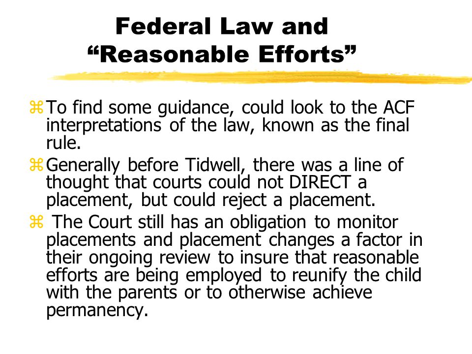 Federal Law and Reasonable Efforts zTo find some guidance, could look to the ACF interpretations of the law, known as the final rule.