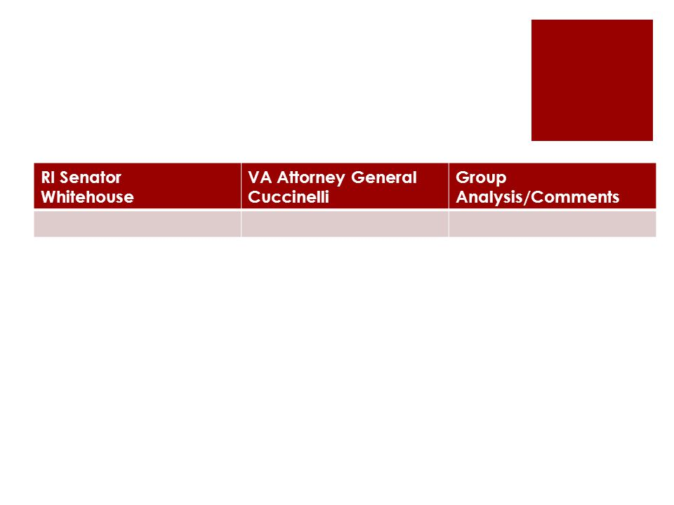 RI Senator Whitehouse VA Attorney General Cuccinelli Group Analysis/Comments
