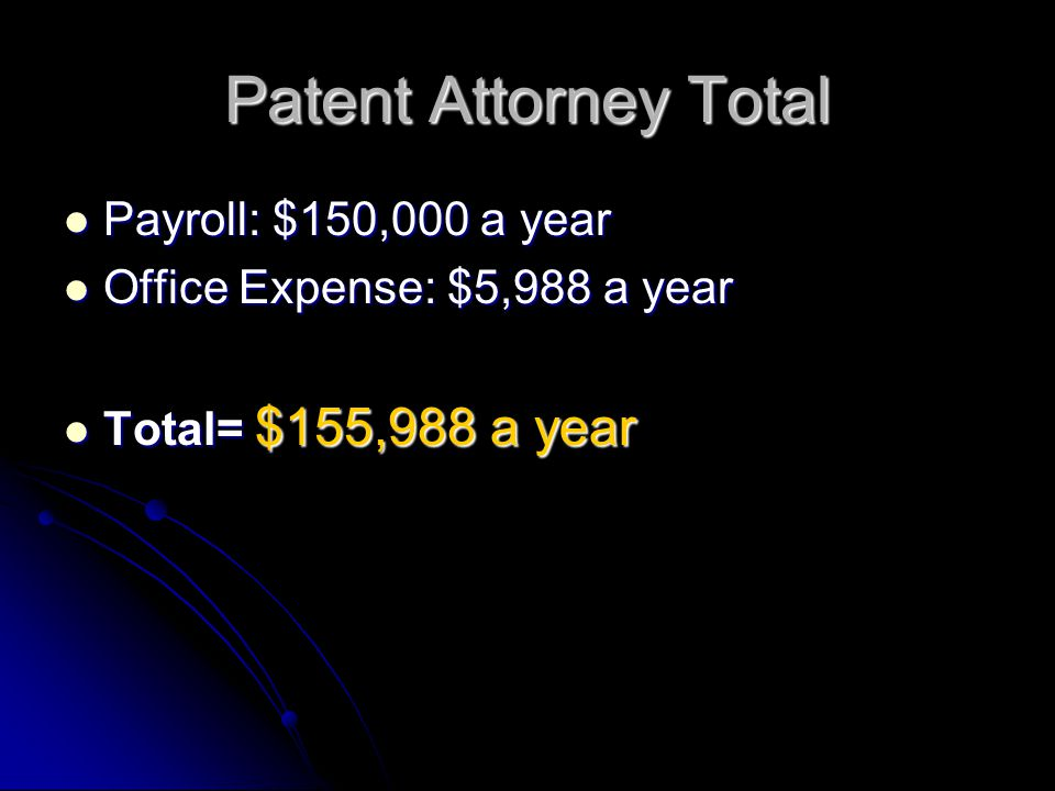 Patent Attorney Total Payroll: $150,000 a year Payroll: $150,000 a year Office Expense: $5,988 a year Office Expense: $5,988 a year Total= $155,988 a year Total= $155,988 a year
