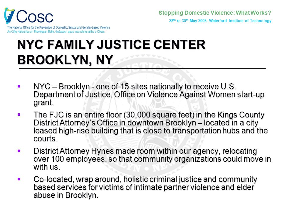 Stopping Domestic Violence: What Works? 28 th to 30 th May 2008, Waterford Institute of Technology NYC FAMILY JUSTICE CENTER BROOKLYN, NY  NYC – Broo