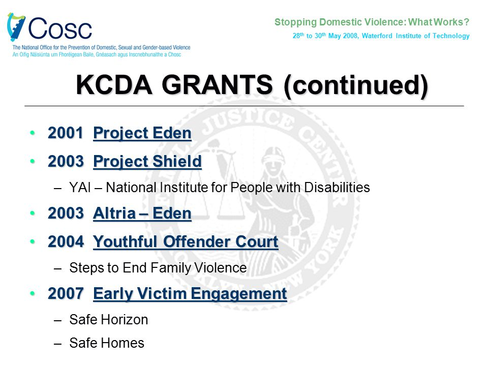 Stopping Domestic Violence: What Works? 28 th to 30 th May 2008, Waterford Institute of Technology KCDA GRANTS (continued) 2001 Project Eden2001 Proje