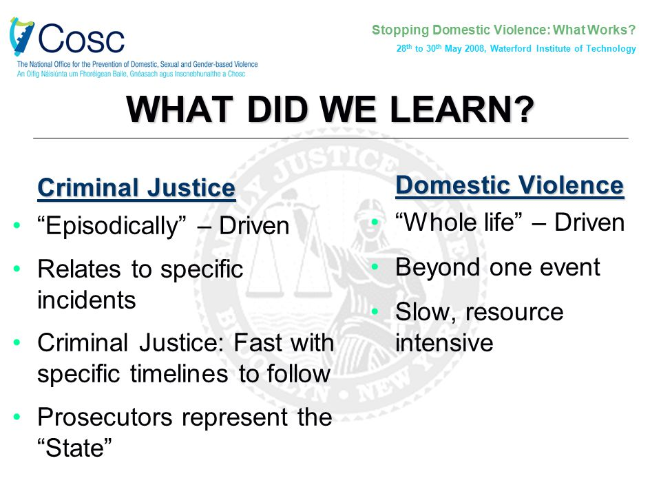 "Stopping Domestic Violence: What Works? 28 th to 30 th May 2008, Waterford Institute of Technology WHAT DID WE LEARN? Criminal Justice ""Episodically"""