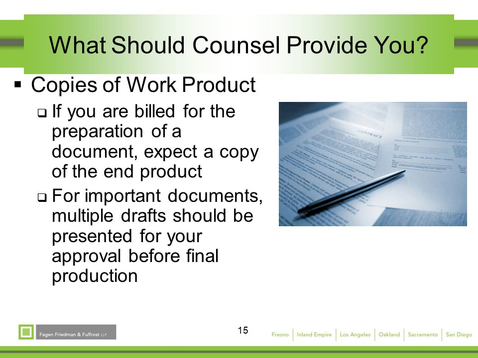 15 What Should Counsel Provide You.