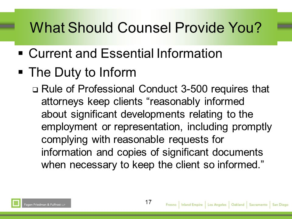 17 What Should Counsel Provide You.