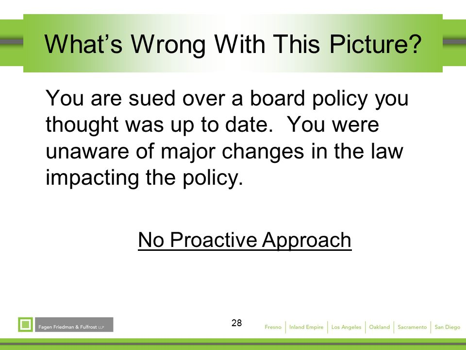 28 What's Wrong With This Picture. You are sued over a board policy you thought was up to date.