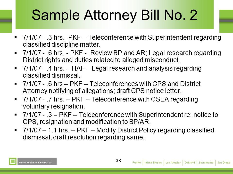 38 Sample Attorney Bill No.
