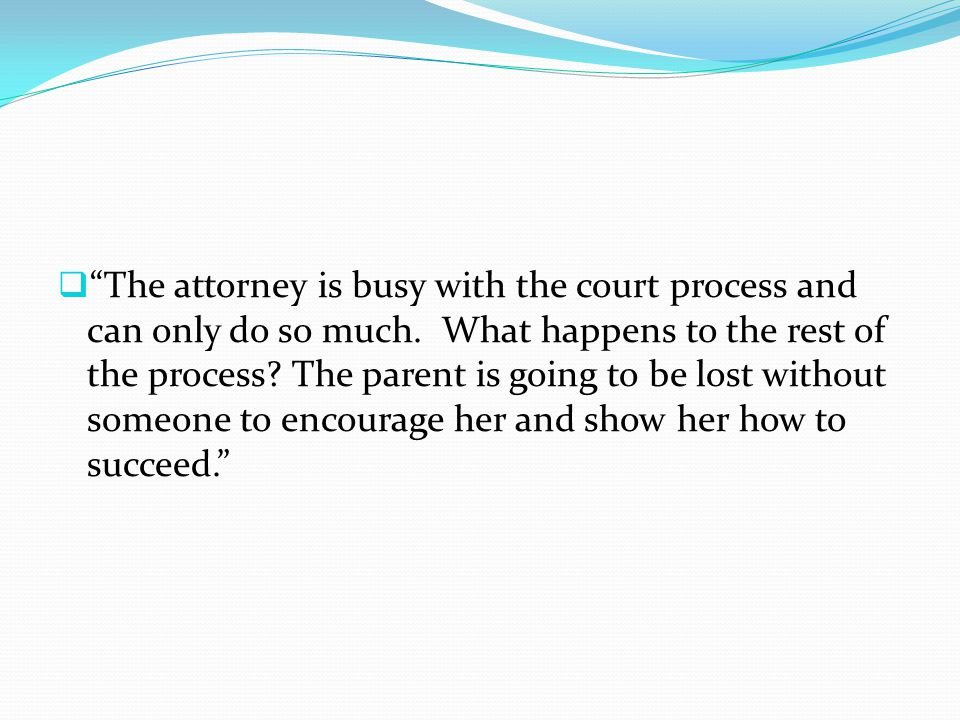 " ""The attorney is busy with the court process and can only do so much. What happens to the rest of the process? The parent is going to be lost withou"