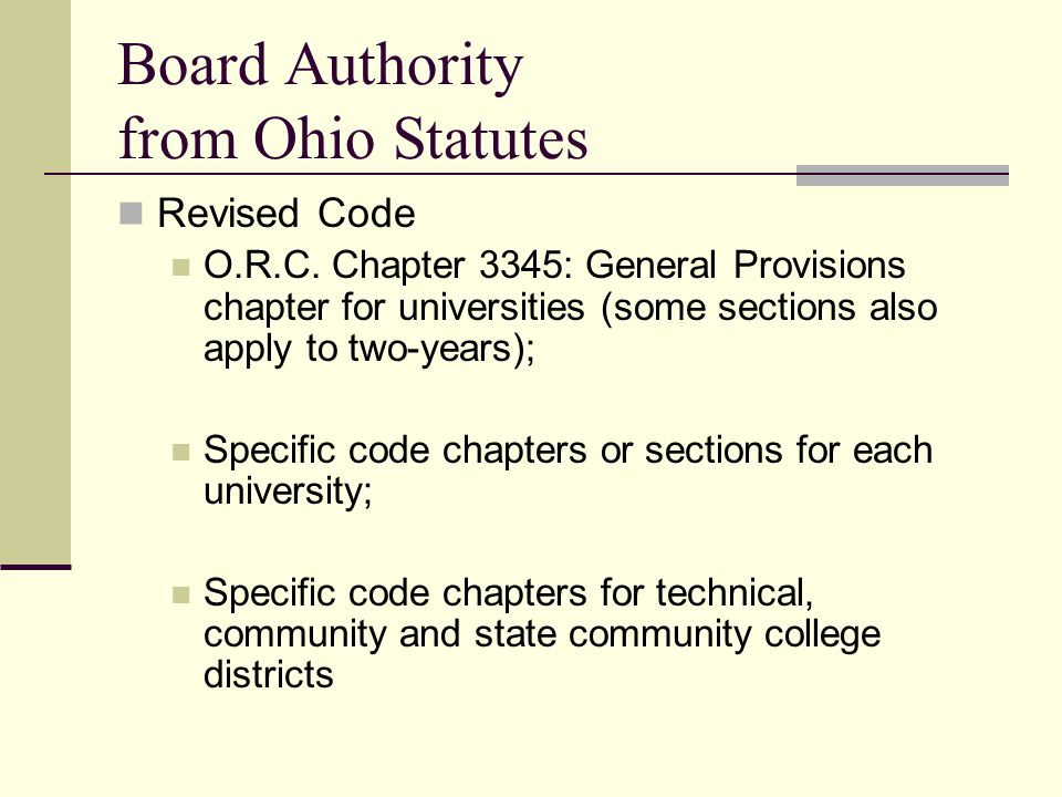Board Authority from Ohio Statutes Revised Code O.R.C.