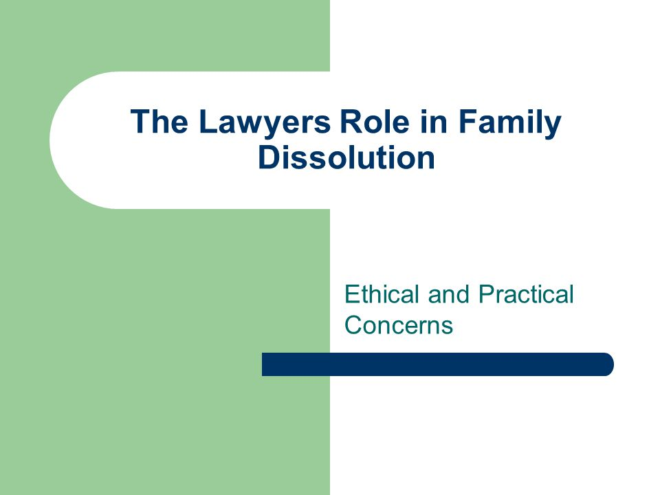The Lawyers Role in Family Dissolution Ethical and Practical Concerns