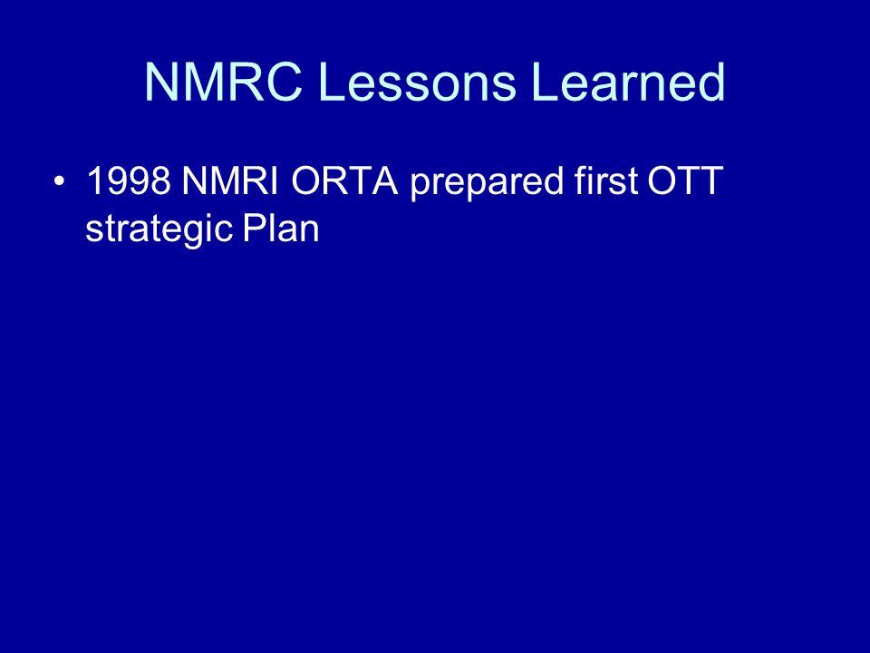 1998 NMRI ORTA prepared first OTT strategic Plan
