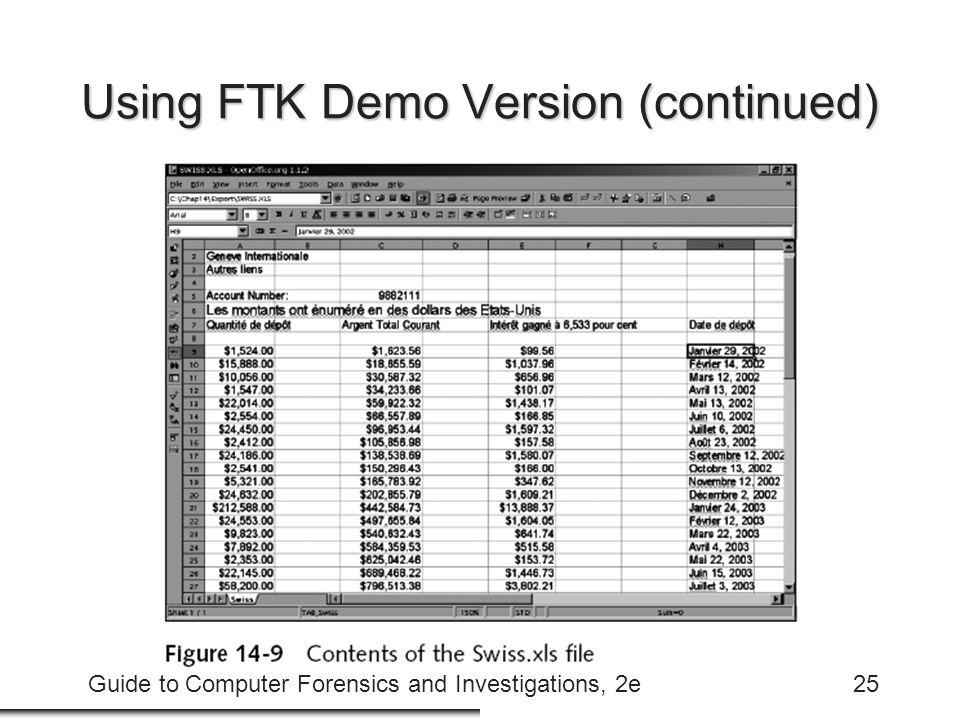 Guide to Computer Forensics and Investigations, 2e25 Using FTK Demo Version (continued)