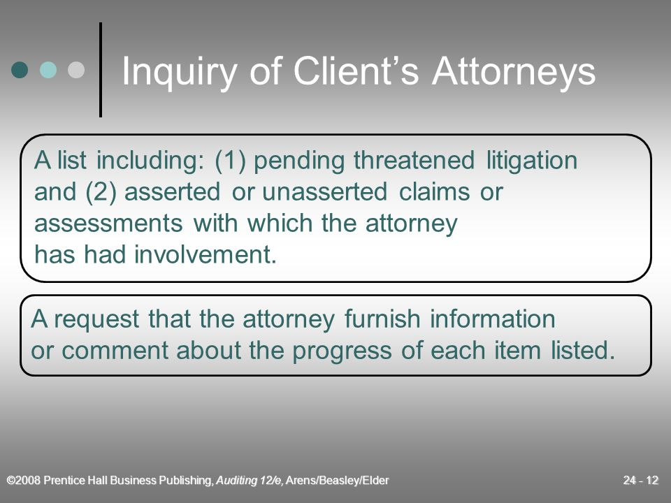 ©2008 Prentice Hall Business Publishing, Auditing 12/e, Arens/Beasley/Elder 24 - 12 Inquiry of Client's Attorneys A list including: (1) pending threatened litigation and (2) asserted or unasserted claims or assessments with which the attorney has had involvement.