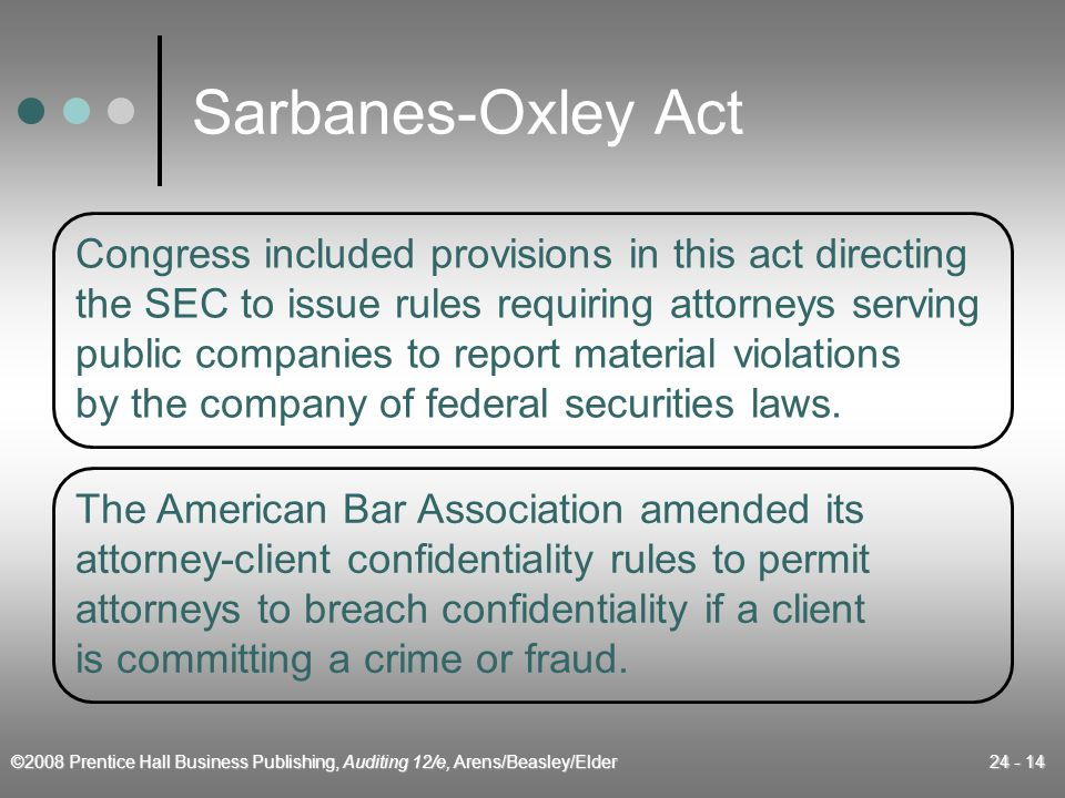 ©2008 Prentice Hall Business Publishing, Auditing 12/e, Arens/Beasley/Elder 24 - 14 Sarbanes-Oxley Act Congress included provisions in this act directing the SEC to issue rules requiring attorneys serving public companies to report material violations by the company of federal securities laws.