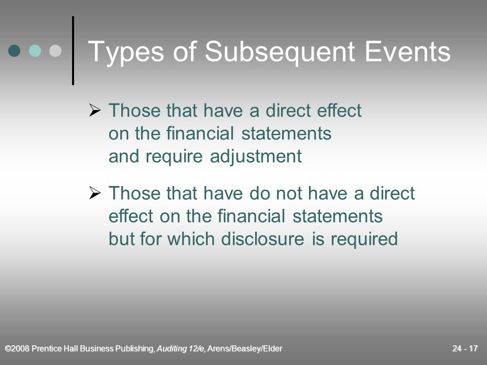 ©2008 Prentice Hall Business Publishing, Auditing 12/e, Arens/Beasley/Elder 24 - 17 Types of Subsequent Events  Those that have a direct effect on the financial statements and require adjustment  Those that have do not have a direct effect on the financial statements but for which disclosure is required