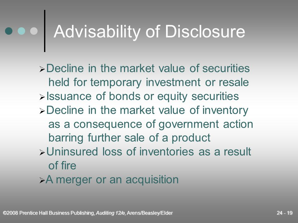 ©2008 Prentice Hall Business Publishing, Auditing 12/e, Arens/Beasley/Elder 24 - 19 Advisability of Disclosure  Decline in the market value of securities held for temporary investment or resale  Issuance of bonds or equity securities  Decline in the market value of inventory as a consequence of government action barring further sale of a product  Uninsured loss of inventories as a result of fire  A merger or an acquisition