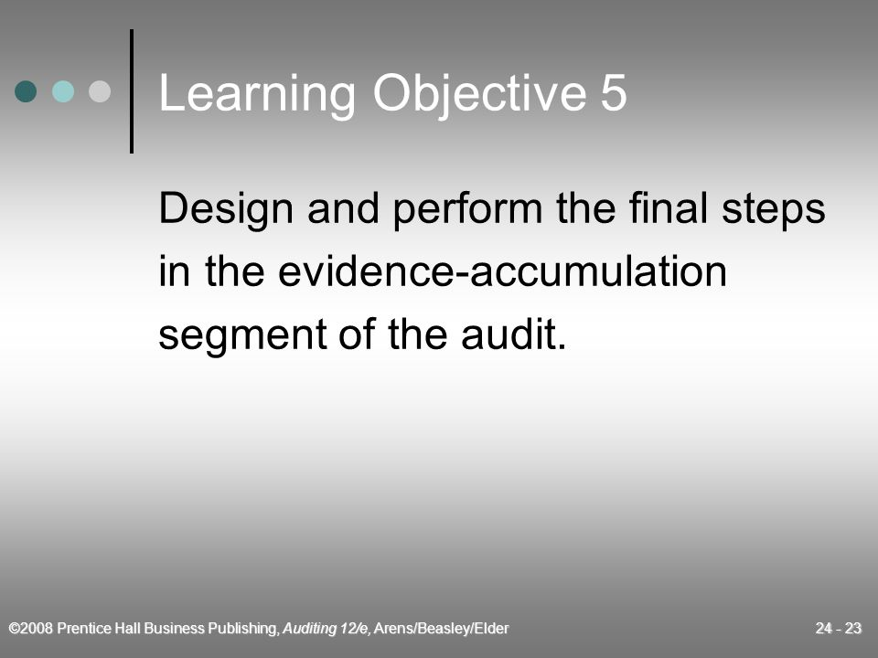©2008 Prentice Hall Business Publishing, Auditing 12/e, Arens/Beasley/Elder 24 - 23 Learning Objective 5 Design and perform the final steps in the evidence-accumulation segment of the audit.