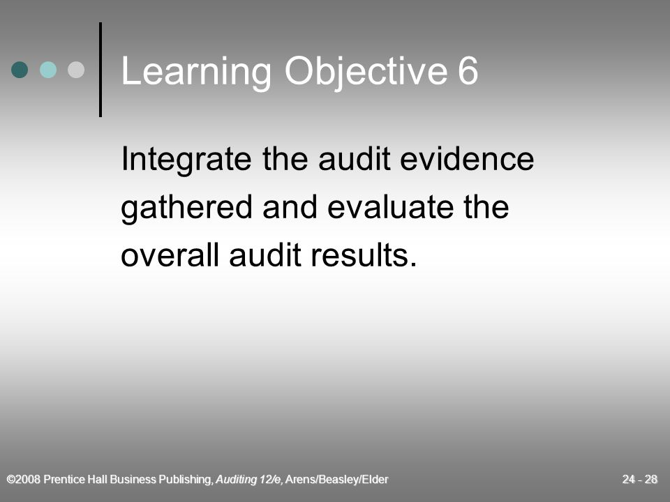 ©2008 Prentice Hall Business Publishing, Auditing 12/e, Arens/Beasley/Elder 24 - 28 Learning Objective 6 Integrate the audit evidence gathered and evaluate the overall audit results.