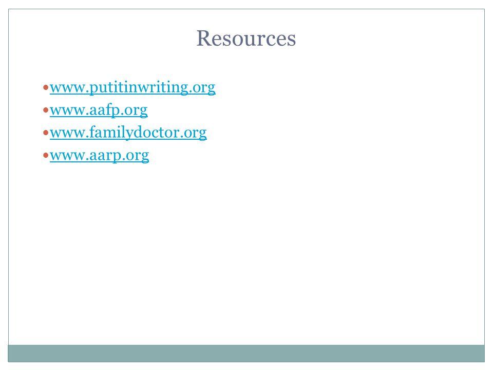 Resources www.putitinwriting.org www.aafp.org www.familydoctor.org www.aarp.org