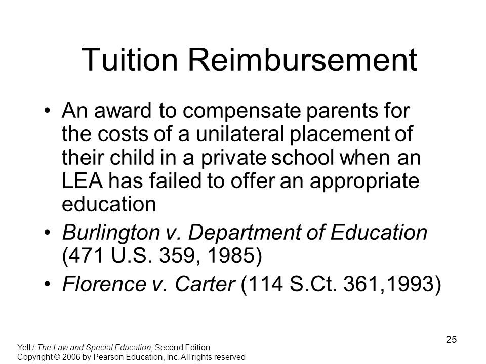 25 Tuition Reimbursement An award to compensate parents for the costs of a unilateral placement of their child in a private school when an LEA has fai