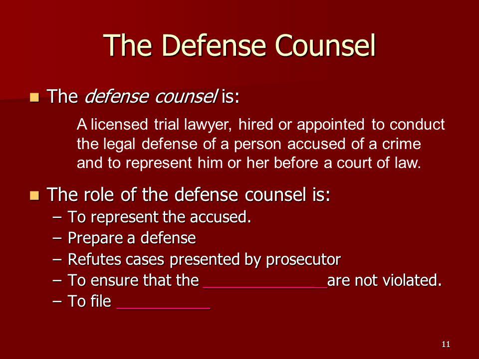 11 The Defense Counsel The defense counsel is: The defense counsel is: The role of the defense counsel is: The role of the defense counsel is: –To rep