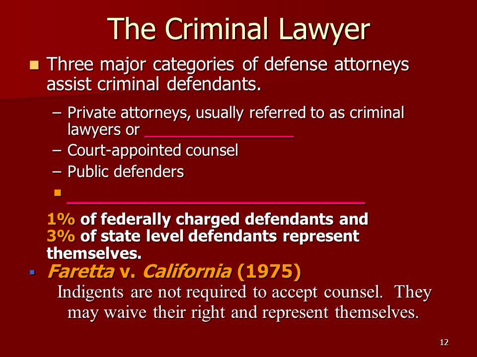 12 The Criminal Lawyer Three major categories of defense attorneys assist criminal defendants.