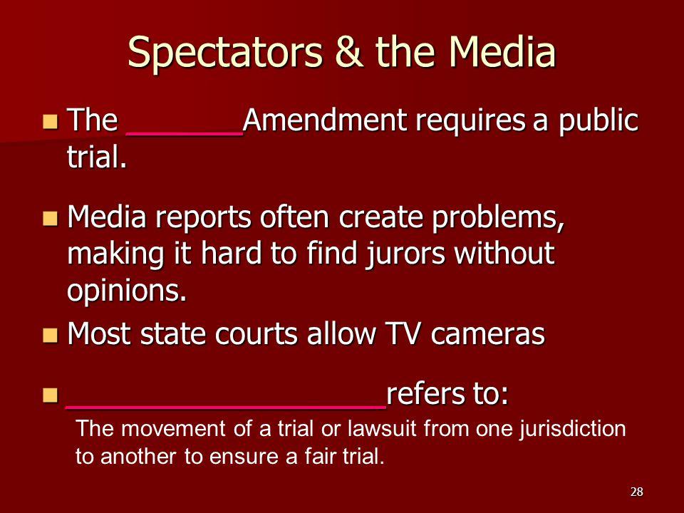28 Spectators & the Media The ______Amendment requires a public trial. The ______Amendment requires a public trial. Media reports often create problem