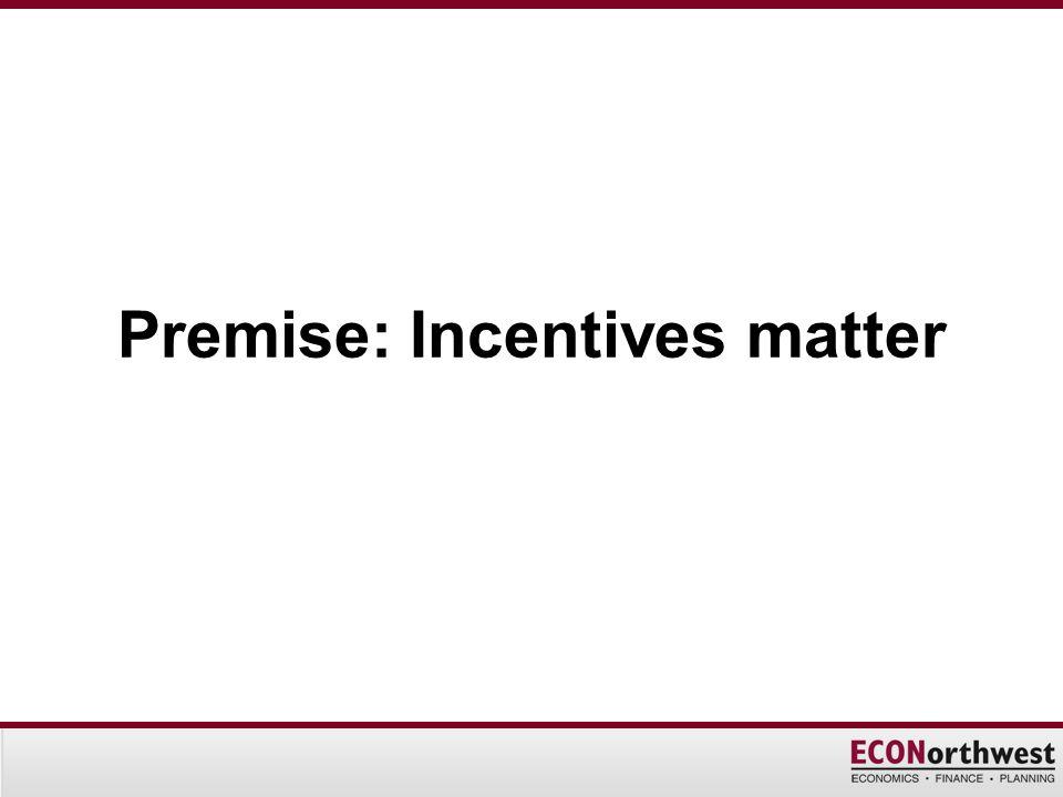Premise: Incentives matter
