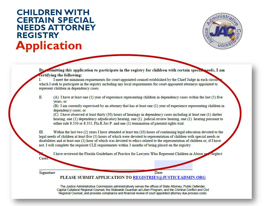 CHILDREN WITH CERTAIN SPECIAL NEEDS ATTORNEY REGISTRY Application