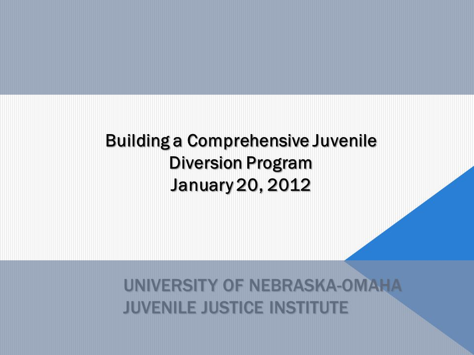 UNIVERSITY OF NEBRASKA-OMAHA JUVENILE JUSTICE INSTITUTE Building a Comprehensive Juvenile Diversion Program January 20, 2012