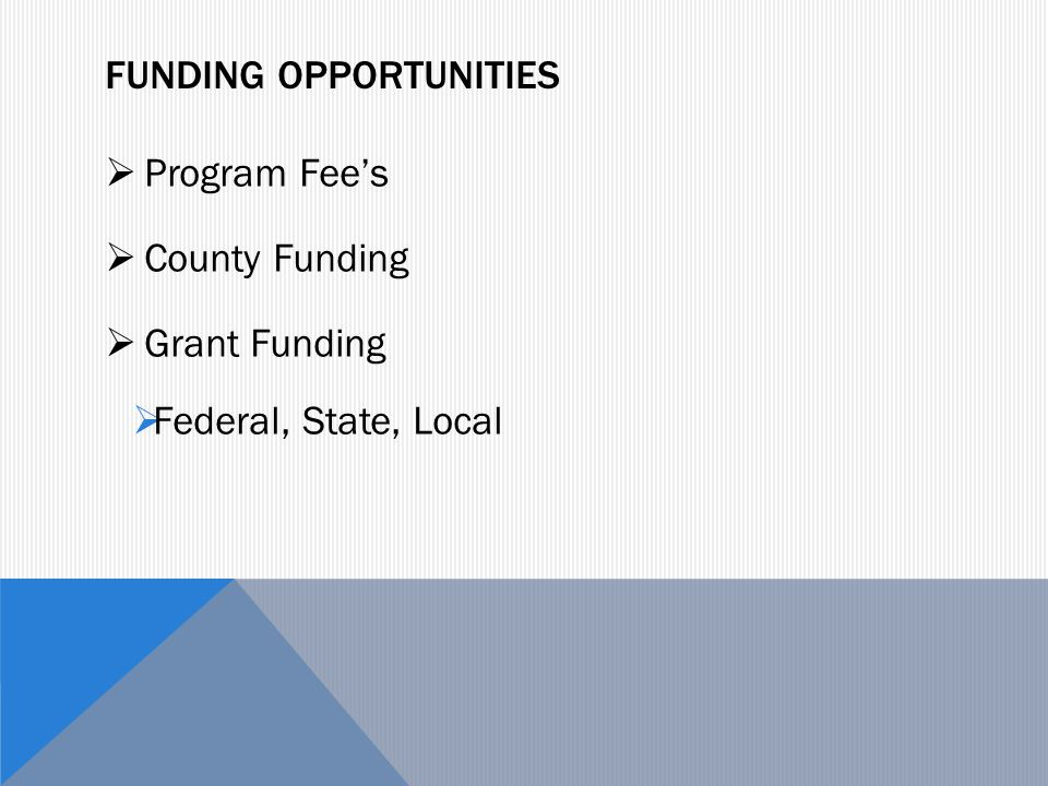 FUNDING OPPORTUNITIES  Program Fee's  County Funding  Grant Funding  Federal, State, Local