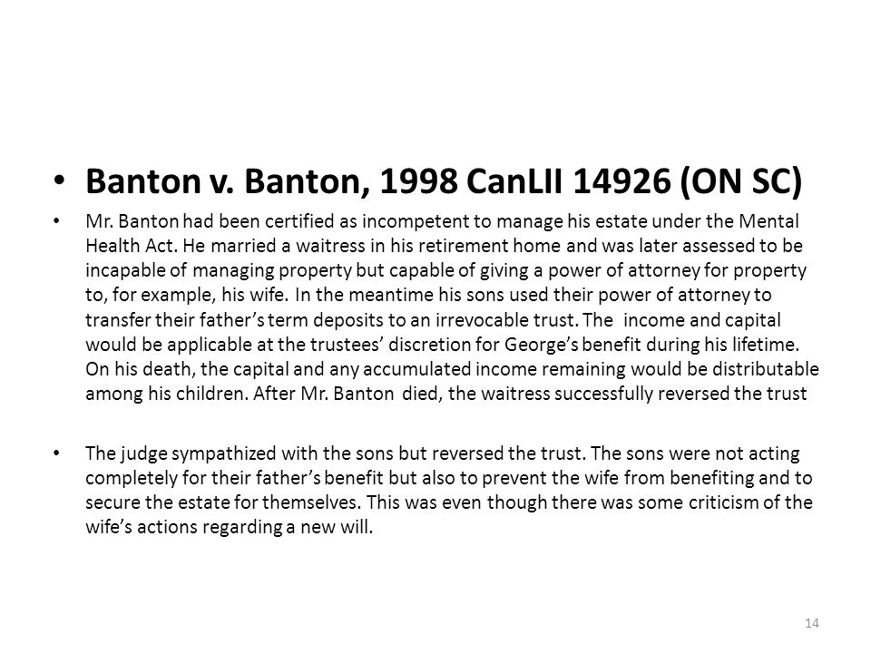 Banton v. Banton, 1998 CanLII 14926 (ON SC) Mr.