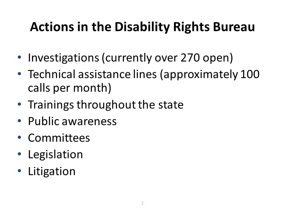Contact the Disability Rights Bureau Chicago Office (312) 814-5684 TTY: (800) 964-3013 Springfield Office (217) 524-2660 TTY: (877) 844-5461 disabilityrights@atg.state.il.us http://www.illinoisattorneygeneral.gov/rights/disabilityrights.html