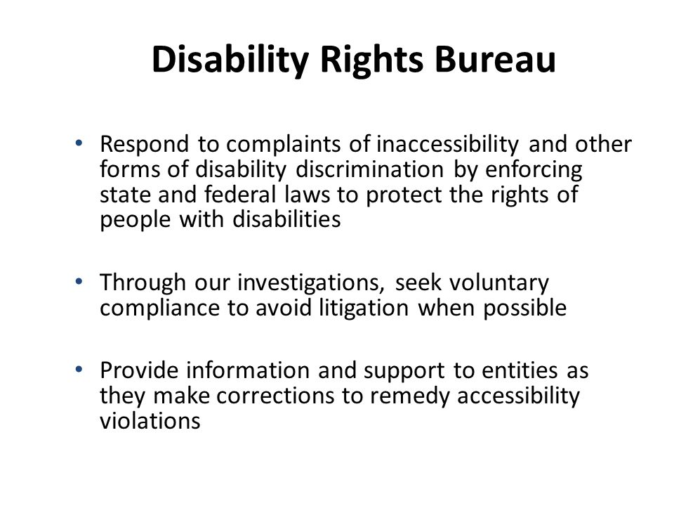 Laura Paul, Chief Disability Rights Bureau Office of the Attorney General 100 W.