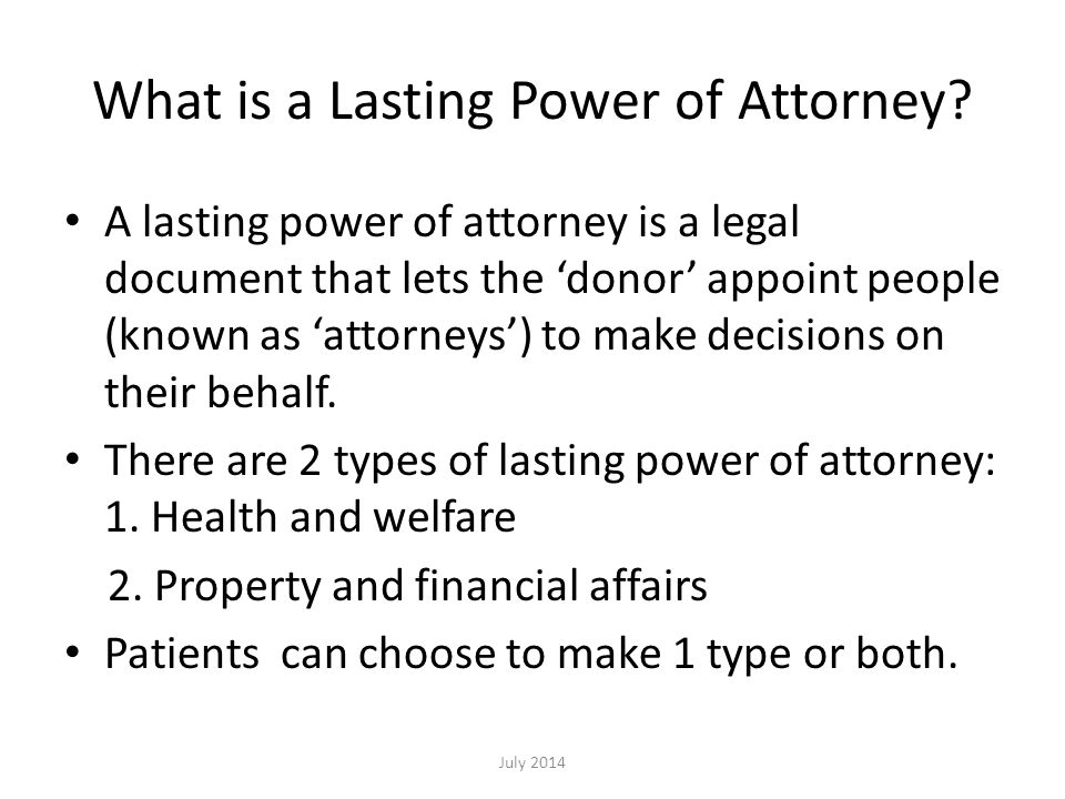 What is a Lasting Power of Attorney.