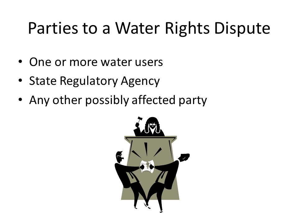 Parties to a Water Rights Dispute One or more water users State Regulatory Agency Any other possibly affected party