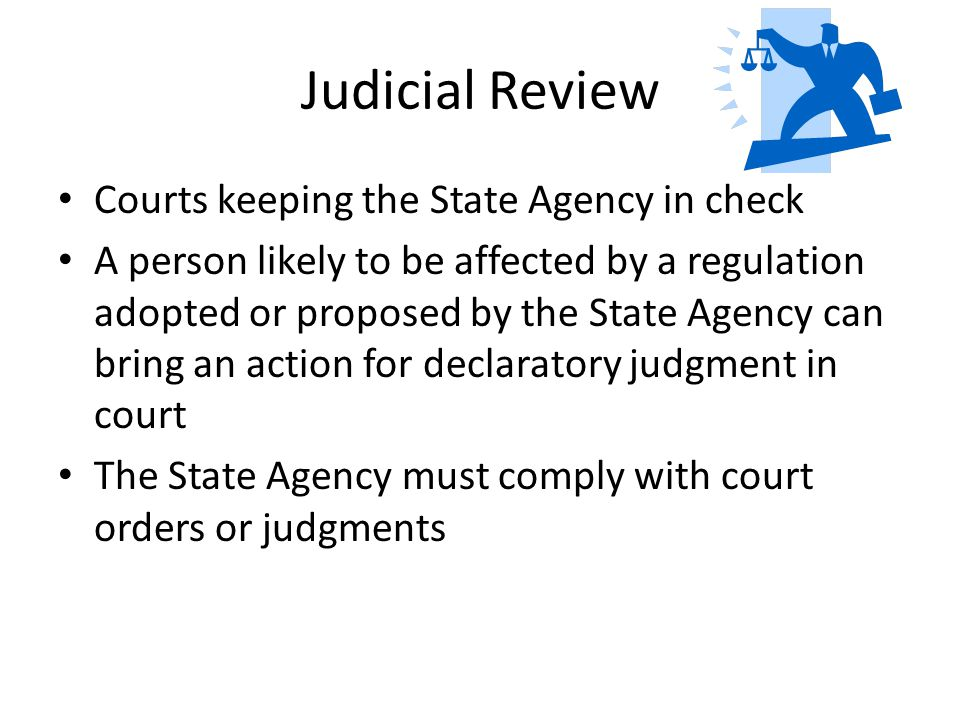 Judicial Review Courts keeping the State Agency in check A person likely to be affected by a regulation adopted or proposed by the State Agency can bring an action for declaratory judgment in court The State Agency must comply with court orders or judgments