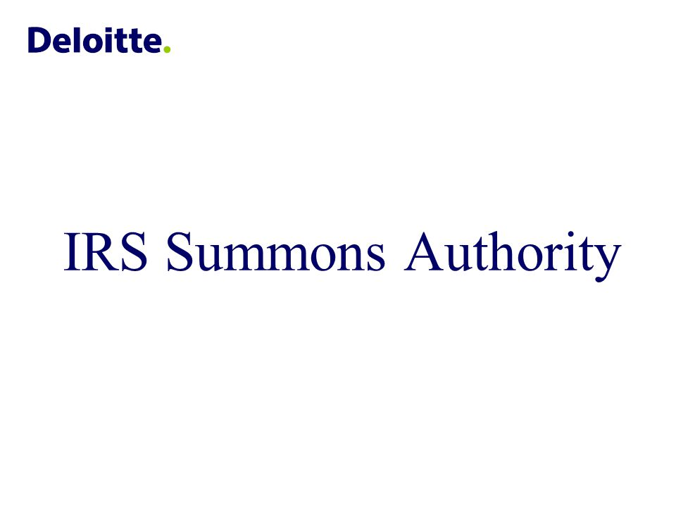 IRS Summons Authority