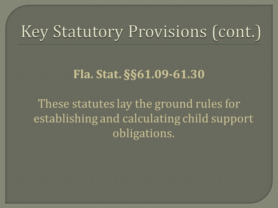Fla. Stat. §§61.09-61.30 These statutes lay the ground rules for establishing and calculating child support obligations.