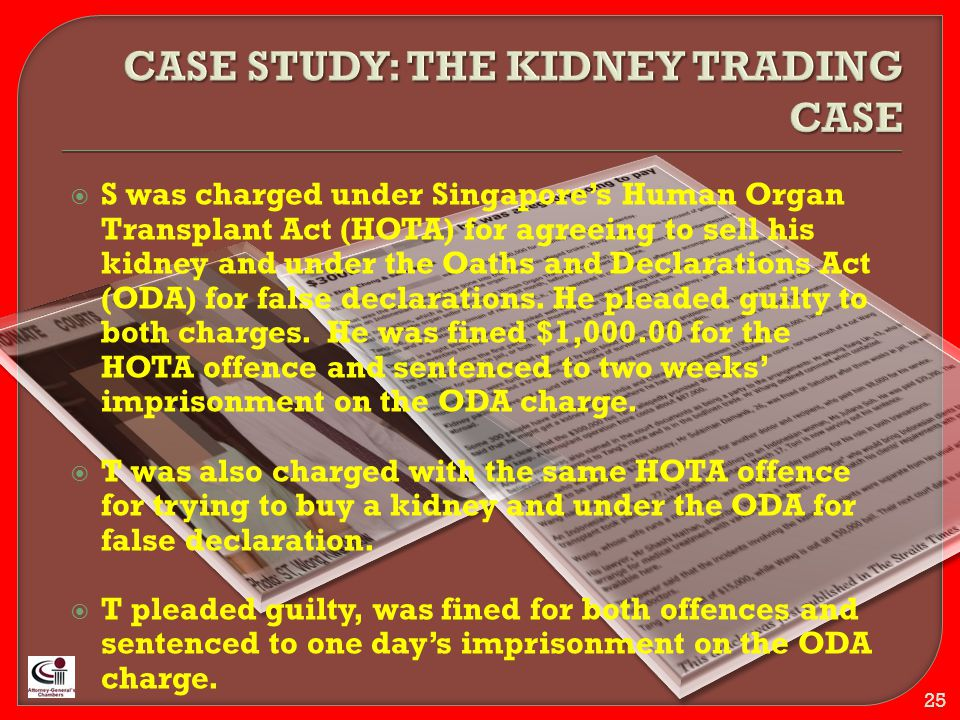  S was charged under Singapore's Human Organ Transplant Act (HOTA) for agreeing to sell his kidney and under the Oaths and Declarations Act (ODA) for false declarations.