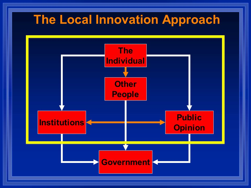 The Local Innovation Approach Institutions Public Opinion The Individual Other People Government