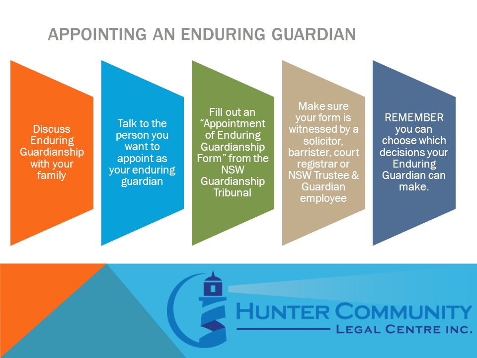 APPOINTING AN ENDURING GUARDIAN Discuss Enduring Guardianship with your family Talk to the person you want to appoint as your enduring guardian Fill out an Appointment of Enduring Guardianship Form from the NSW Guardianship Tribunal Make sure your form is witnessed by a solicitor, barrister, court registrar or NSW Trustee & Guardian employee REMEMBER you can choose which decisions your Enduring Guardian can make.