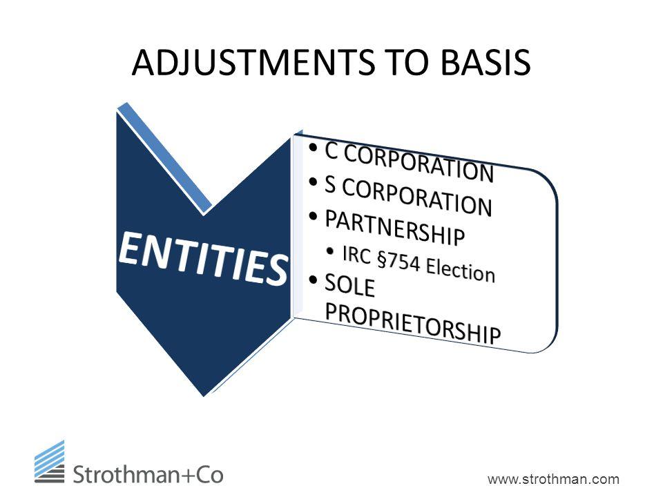 www.strothman.com ADJUSTMENTS TO BASIS