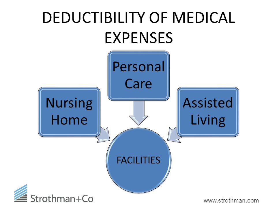 www.strothman.com DEDUCTIBILITY OF MEDICAL EXPENSES FACILITIES Nursing Home Personal Care Assisted Living
