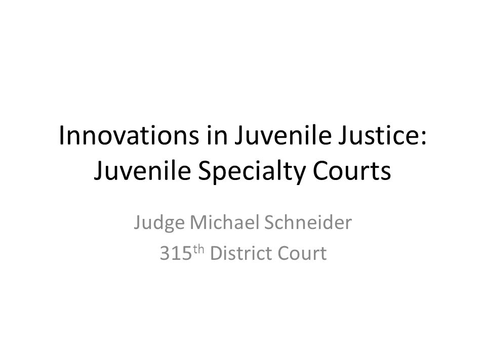 Innovations in Juvenile Justice: Juvenile Specialty Courts Judge Michael Schneider 315 th District Court