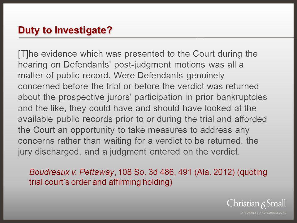 Duty to Investigate.