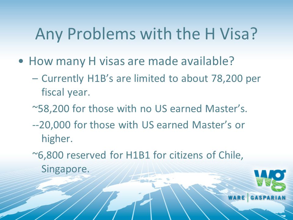 Any Problems with the H Visa.How many H visas are made available.