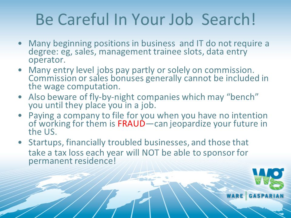Be Careful In Your Job Search.