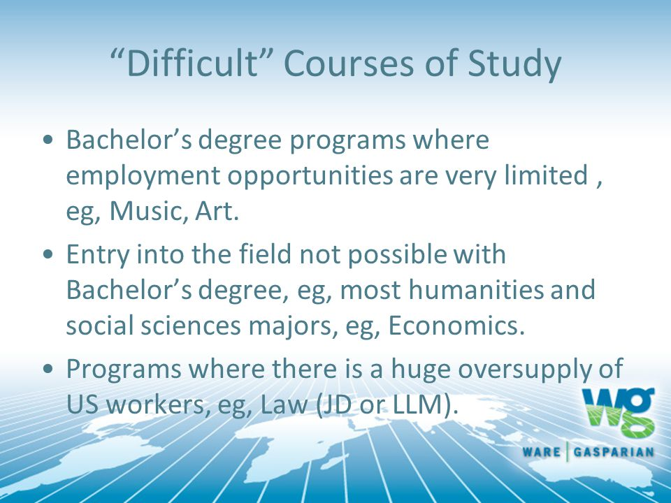 Difficult Courses of Study Bachelor's degree programs where employment opportunities are very limited, eg, Music, Art.