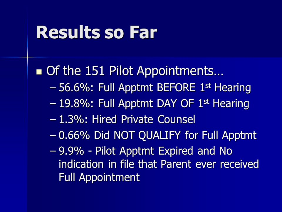 Results so Far Of the 151 Pilot Appointments… Of the 151 Pilot Appointments… –56.6%: Full Apptmt BEFORE 1 st Hearing –19.8%: Full Apptmt DAY OF 1 st H
